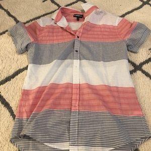 Express Short Sleeve Linen Button Up Shirt